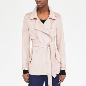 NWOT Zara Faux-Suede Trench Coat - XS